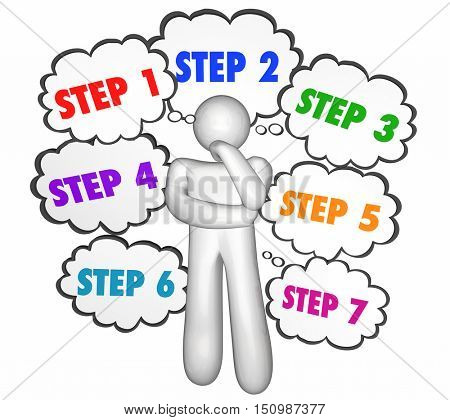 Steps Process Instructions Thought Clouds Thinker 3d Illustration