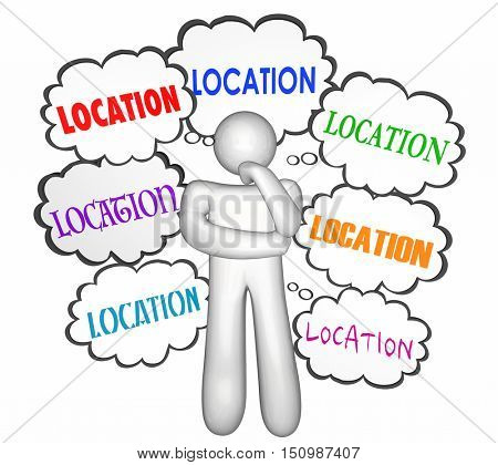Location Real Estate Home House Buyer Shoping Thinker Thought Clouds 3d Illustration