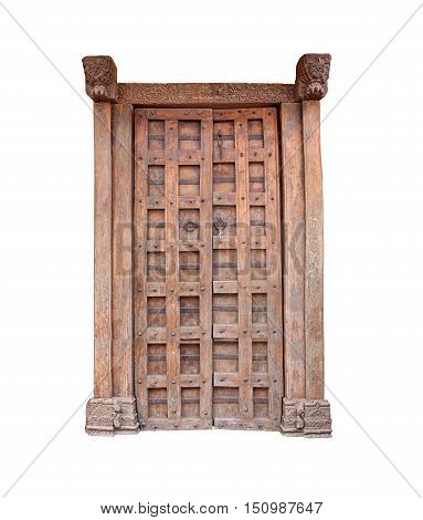 Brown Wooden door ancient isolated on white background and have clipping paths to easy deployment.
