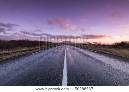 Empty road leading into the distance