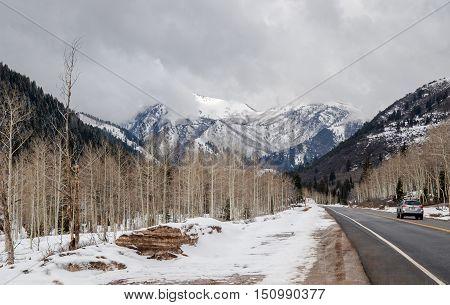 Snow Covered Tuscarora Peaks Near Brighton. Utah Usa