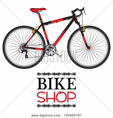 Bike shop with red bicycle illustration in flat vector style.