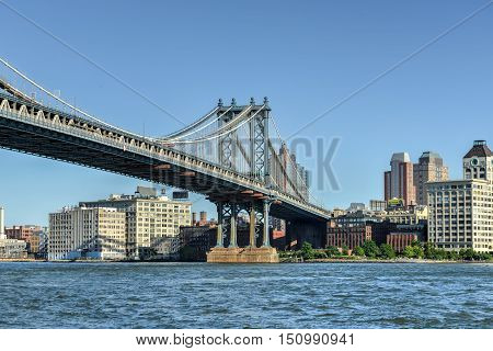 New York City - Sept 15, 2012: View of the Manhattan Bridge as seen from the East Side of Manhattan New York.