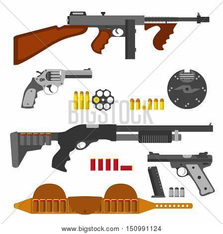 Gun icons set machine gun thompson rifle revolver pistol shell and bullets. Weapon vector set.