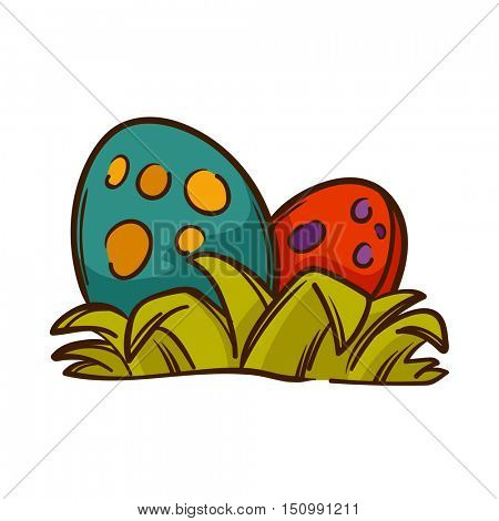 Dinosaurs eggs with grass. Isolated on white. Vector Illustration.