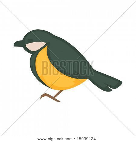 Great tit isolated on white. Cartoon. Vector