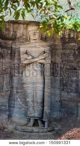 Ancient City of Polonnaruwa, panoramic photo of a Buddha standing on lotus plinth at Gal Vihara Rock Temple (Gal Viharaya), UNESCO World Heritage Site, Sri Lanka, Asia.