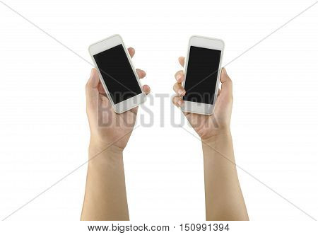 White Smartphone in woman hand and man hand isolated on white background and have clipping paths to easy deployment.