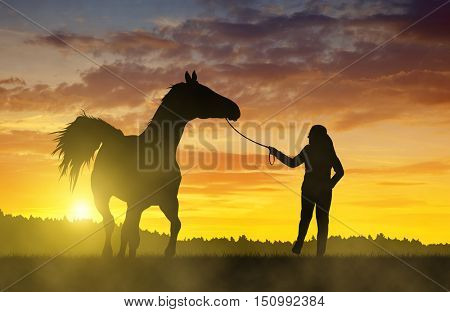 Girl with a horse at sunset.