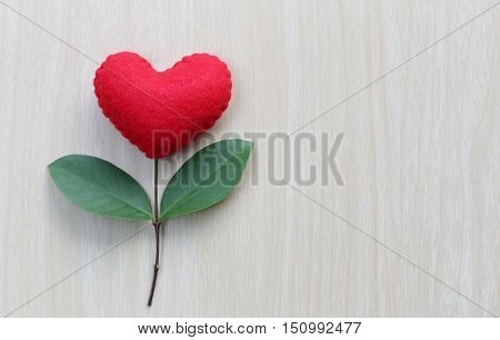 Red heart placed on a wooden table in connect with branches of tree and have green leavesconcept of love empathy take care and Valentine's Day.