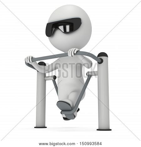 Active 3D man exercising on outdoor fitnes trainer machine. Fit sporty man working out at outdoor gym. Sport fitness and healthy lifestyle concept. 3D render isolated on white.
