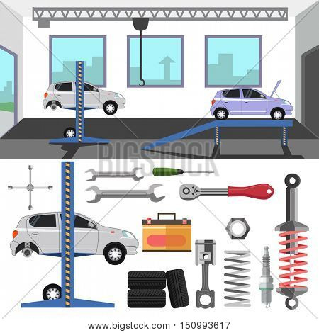 Tire service center of car. Vector set of repair tools and auto spares: tire and wrench, battery and motor, piston and spark plug, spanner. Flat design elements and icons. Automobile maintenance