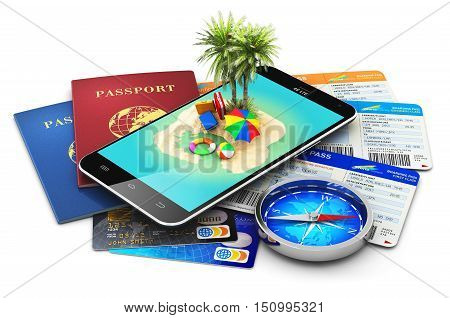 3D render illustration of modern black glossy touchscreen smartphone with tropical island and palm tree, international biometric passports, air tickets or boarding pass, magnetic compass and color plastic bank credit cards isolated on white background