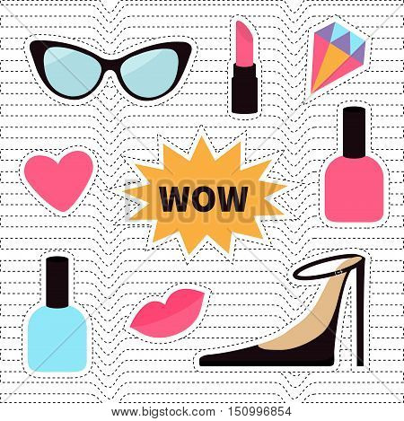 Quirky cartoon sticker patch badge set. Fashion pin. Lipstick heart wow text bubble star diamond shoes lips sunglasses nail polish. White black wave dash line optical background Flat Vector