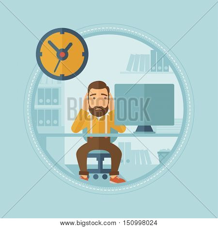 Worried caucasian hipster employee with beard sitting at workplace clutching head because of missed deadline. Concept of deadline. Vector flat design illustration in the circle isolated on background.