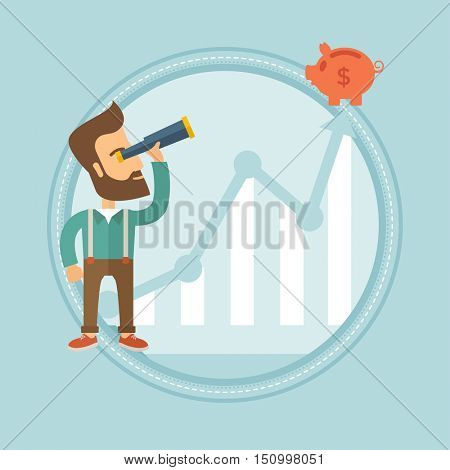 Hipster businessman looking through spyglass at piggy bank standing at the top of growth graph. Business vision, growth concept. Vector flat design illustration in the circle isolated on background.