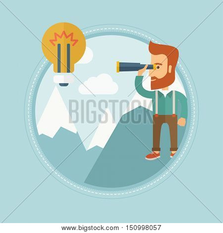 Young caucasian hipster businessman with beard standing on the peak of big mountain and looking through spyglass at the lightbulb. Vector flat design illustration in the circle isolated on background.