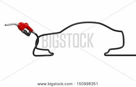 Car Shaped Gas Pump Nozzle isolated on white background. 3D render