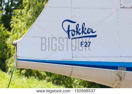 Lelystad, The Netherlands - June 9, 2016: Fokker F27-200Mar Friendship Parked At Lelystad Airport. T