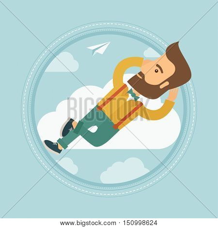 Young caucasian hipster businessman with beard lying on a cloud and looking at flying paper plane. Business man relaxing on cloud. Vector flat design illustration in the circle isolated on background.