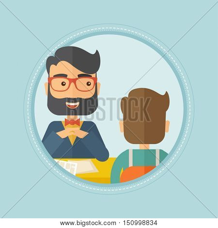 A hipster human resource manager talking with job applicant during interview for the vacant position. Employment concept. Vector flat design illustration in the circle isolated on red background.