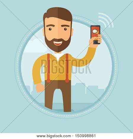A hipster businessman with the beard using smartphone in the city street. Young caucasian entrepreneur chatting on a mobile phone. Vector flat design illustration in the circle isolated on background.