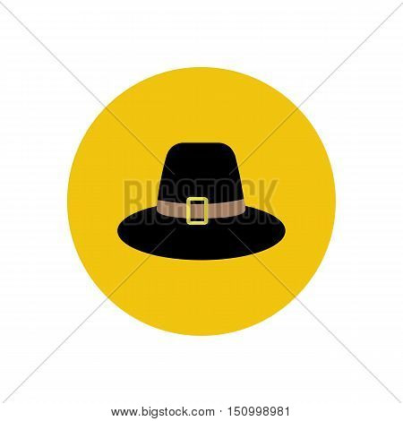 Pilgrim hat illustration on the yellow background. Vector illustration