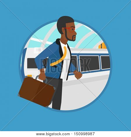 An african-american man walking on the train platform on the background of train arriving at the station. Man going out of train. Vector flat design illustration in the circle isolated on background.