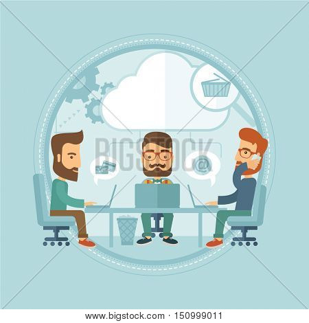 Caucasian hipster business people working together, using laptops in office. Cloud computing, teamwork and brainstorm concept. Vector flat design illustration in the circle isolated on background.