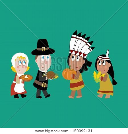 Pilgrims and indians illustration on the green background. Vector illustration
