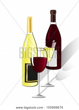 Two glasses and two bottles of white and red wine isolated on white background, vector illustration