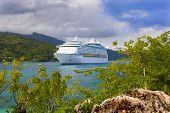 stock photo of cruise ship caribbean  - A cruise ship docked in the Caribbean