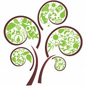 picture of carbon-footprint  - Green tree with eco symbols on the branches - JPG