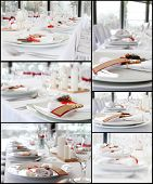 pic of wedding table decor  - Collage of details from the wedding table - JPG