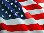 picture of waving american flag  - An American flag flowing in the wind - JPG