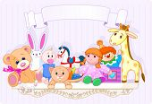 image of stuffed animals  - Shelf full of baby toys with place for copy - JPG