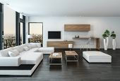 Elegant modern white living room interior with back accents and stone floor furnished with modular u poster