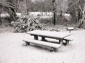 stock photo of nic  - a snow covered pic nic table at a popular park in Happy Valley Oregon - JPG