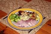 Cooked Gammon Sprouts Baked Onions And Fried Potatoes poster