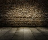 stock photo of brick block  - old grunge interior with brick wall - JPG