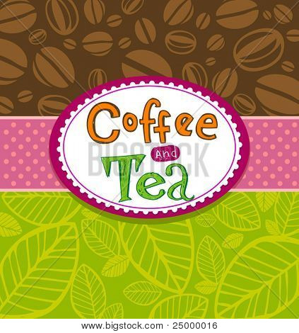 Coffee and Tea Background. Illustration which may be used as menu cover or card