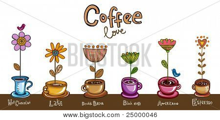 Coffee love, Greeting card, six different coffee cups with flowers