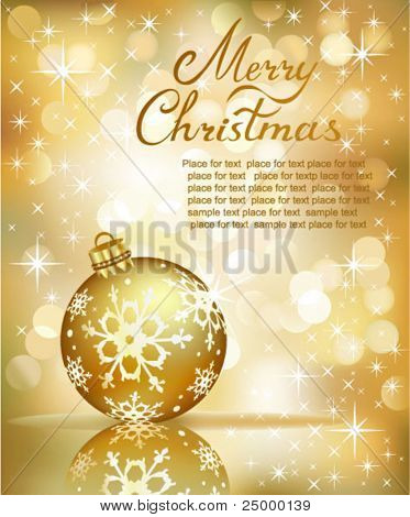 Vector abstract golden Lights Background Christmas Ball.