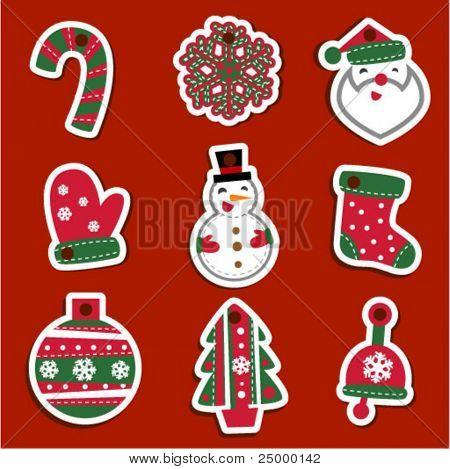 Etiquetas de Navidad para los regalos o las etiquetas engomadas del vector