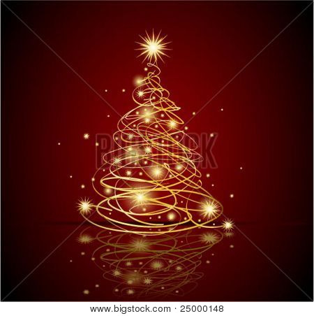 Abstract gold christmas tree, eps8