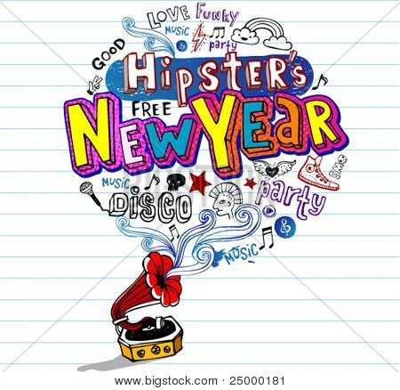 Hipster's New Year, Greeting card or party invitation