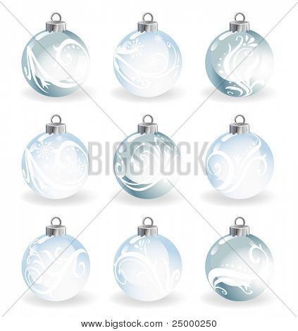 Set of nine cristal decorative balls made of glass, vector illustration