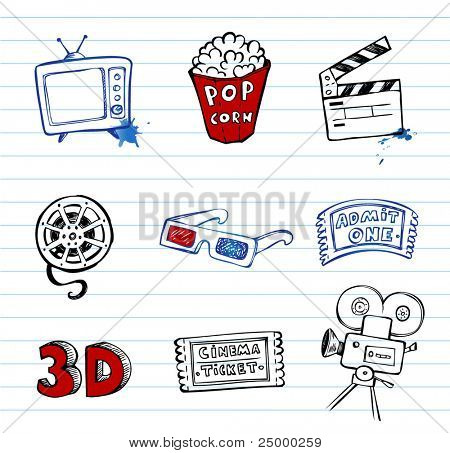 Cinema symbols vector set, hand-drawn icons