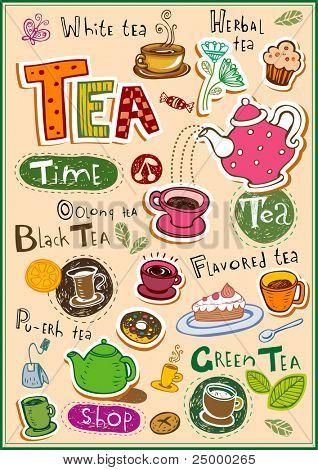 Conjunto de elementos de diseño de té e inscripciones