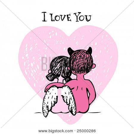 Vector illustration of a valentines couple - devil and angel, may be used as Valentine card.
